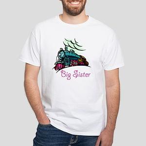 Big Sister Rolling Train White T-Shirt