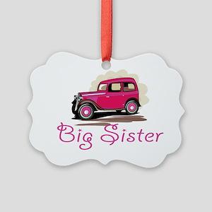 Big Sister Retro Car Picture Ornament