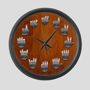 sign-lang-wood-CLK Large Wall Clock