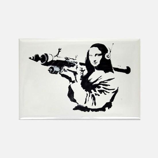Mona Lisa Bazooka Rectangle Magnet