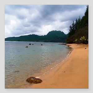 """Kauai Hanalei Bay Beach Square Car Magnet 3"""" x 3"""""""