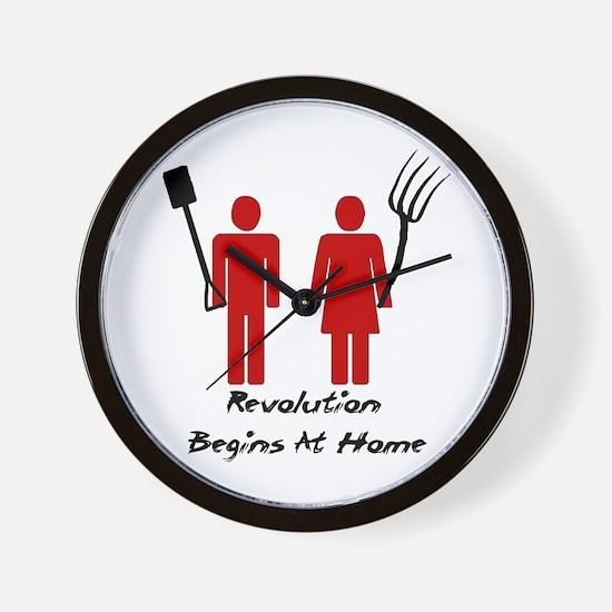 Revolution Begins At Home Wall Clock