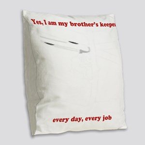 Yes, I am my brother's keeper Burlap Throw Pillow