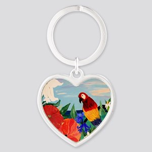Parrot Garden Heart Keychain