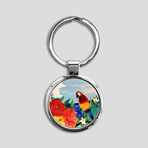 Parrot Garden Round Keychain
