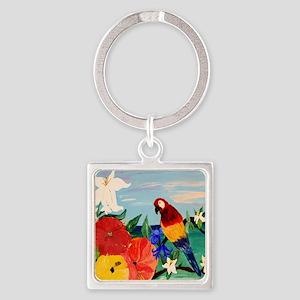 Parrot Garden Square Keychain