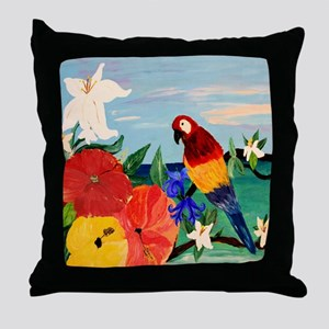 Parrot Garden Throw Pillow
