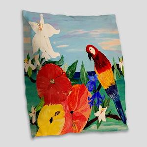 Parrot Garden Burlap Throw Pillow