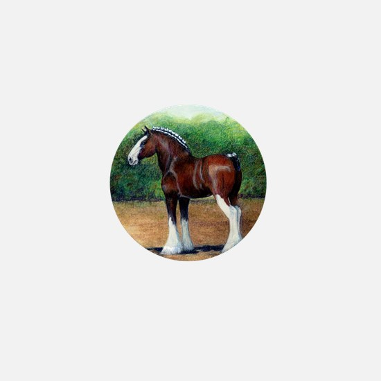 Clydesdale Draft Horse Mini Button