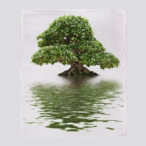Ficus bonsai with water reflection Throw Blanket