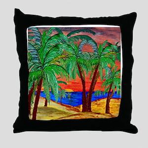 Mountain Sunset Palms Throw Pillow
