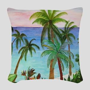 Aqua Beach Woven Throw Pillow