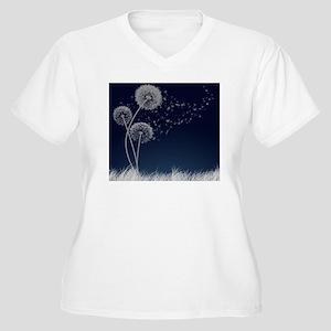 Dandelion Wishes Women's Plus Size V-Neck T-Shirt
