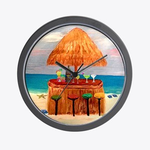Beach Tiki Bar Wall Clock
