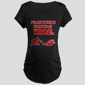 red Waiting Maternity Dark T-Shirt