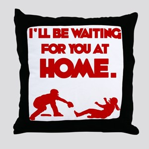 red Waiting Throw Pillow