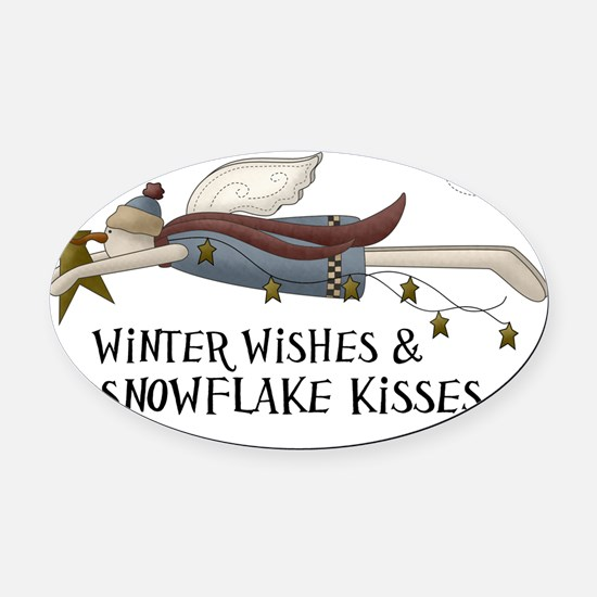 Winter Wishes  Snowflake Kisses Oval Car Magnet