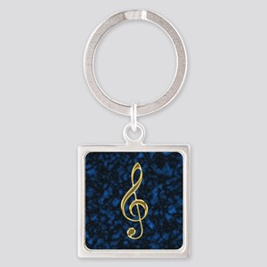Golden Treble Clef Square Keychain