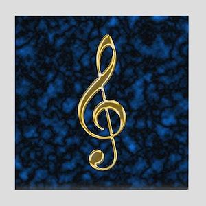Golden Treble Clef Tile Coaster