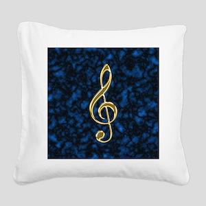 Golden Treble Clef Square Canvas Pillow