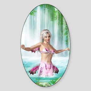 Pink Mermaid Sticker (Oval)
