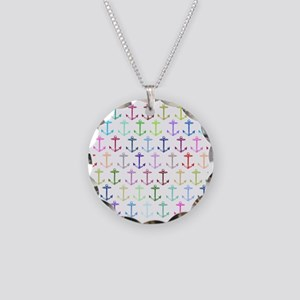 Rainbow anchor pattern Necklace Circle Charm