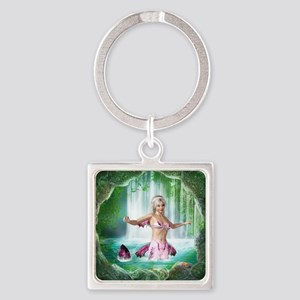Pink Mermaid Square Keychain
