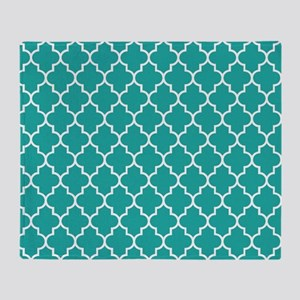 Turquoise quatrefoil pattern Throw Blanket