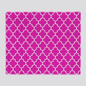 Hot pink quatrefoil pattern Throw Blanket