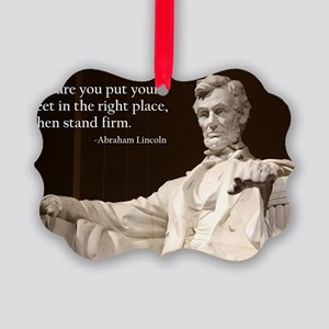 Lincoln Inspirational Quote Picture Ornament