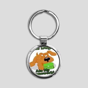cute dog ate my homework cartoon Round Keychain