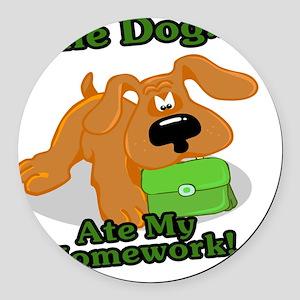 cute dog ate my homework cartoon Round Car Magnet