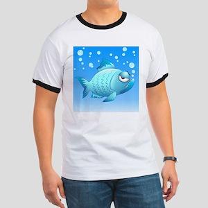 Grumpy Fish Cartoon Ringer T