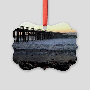 Ocean Wave Storm Pier Picture Ornament