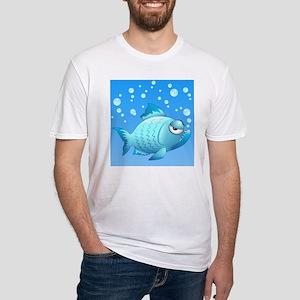 Grumpy Fish Cartoon Fitted T-Shirt
