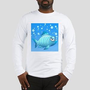Grumpy Fish Cartoon Long Sleeve T-Shirt