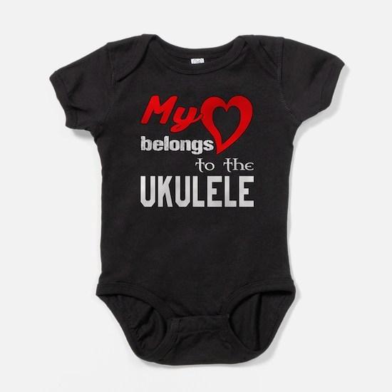 My Heart Belongs To The Ukulele Baby Bodysuit