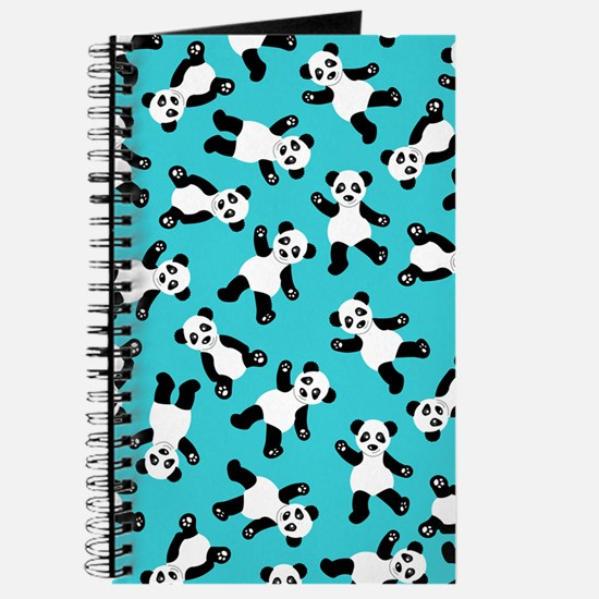 Cute Happy Panda Bear Cartoon Print Blue Journal