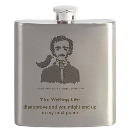Poe Humorous Writing Life T-Shirt Flask
