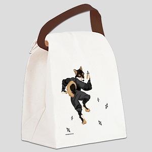 Shiba Inu Ninja - Black and Tan Canvas Lunch Bag