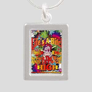 Lifes A Bitch Silver Portrait Necklace