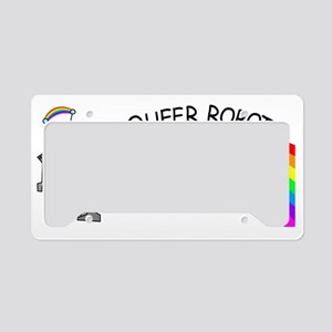 queer robots genderqueer flag License Plate Holder