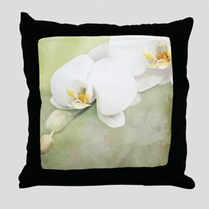 Vintage White Orchid Throw Pillow