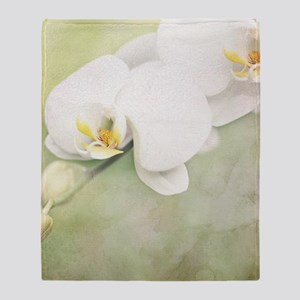 Vintage White Orchid Throw Blanket