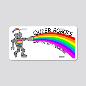 queer robots pansexual flag Aluminum License Plate