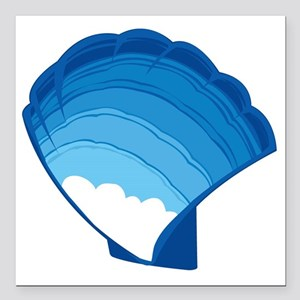 """Blue Sky Shell by Anne A Square Car Magnet 3"""" x 3"""""""