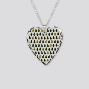 Avocado Pattern Necklace Heart Charm