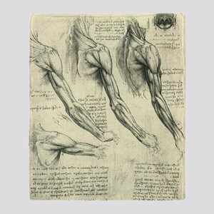 Male Anatomy by Leonardo da Vinci Throw Blanket