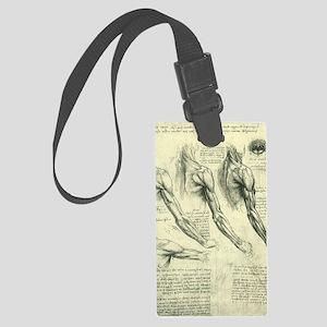 Male Anatomy by Leonardo da Vinc Large Luggage Tag