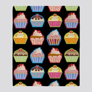 Cute Cupcakes On Black Background Throw Blanket